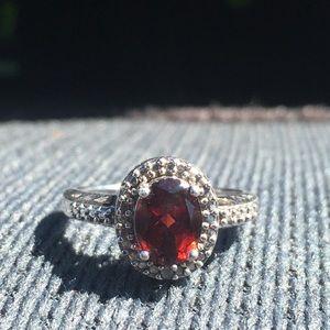 beautiful garnet ring real silver
